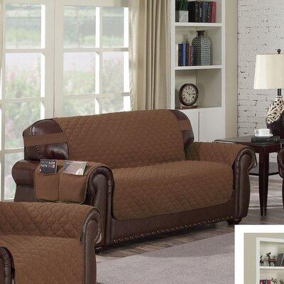 Box Cushion Sofa Slipcover Upholstery: Chocolate-Natural