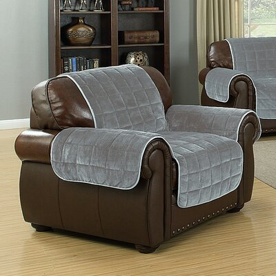 Flannel Reversible Waterproof Polyester Armchair Slipcover Upholstery: Black-Grey