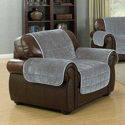 Flannel Reversible Waterproof Polyester Armchair Slipcover Upholstery: Black-Grey