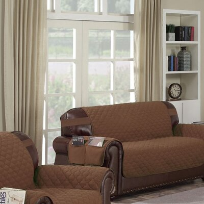Box Cushion Loveseat Slipcover Upholstery: Chocolate-Natural