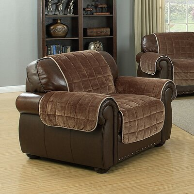 Flannel Reversible Waterproof Polyester Armchair Slipcover Upholstery: Chocolate-Taupe