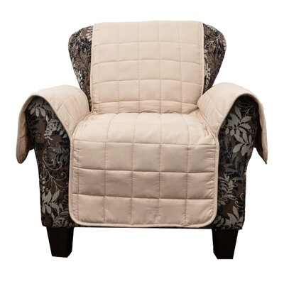 Flannel Reversible Waterproof Polyester Armchair Slipcover Upholstery: Taupe-Mocha
