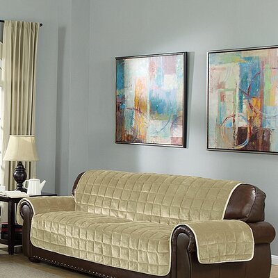 Flannel Box Cushion Sofa Slipcover Upholstery: Chocolate-Taupe