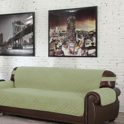 Box Cushion Sofa Slipcover Upholstery: Sage-Chocolate