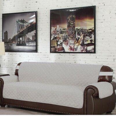 Box Cushion Sofa Slipcover Upholstery: Silver-Black