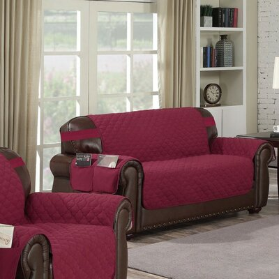 Box Cushion Loveseat Slipcover Upholstery: Garnet-Natural