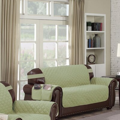 Box Cushion Loveseat Slipcover Upholstery: Sage-Chocolate