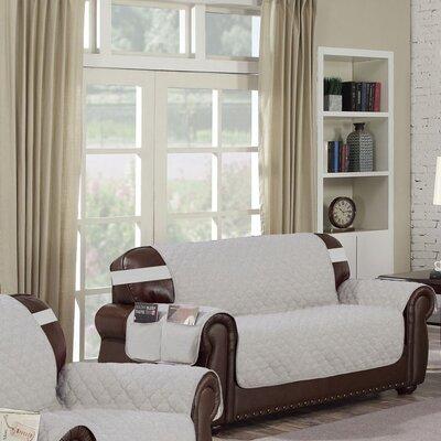 Box Cushion Loveseat Slipcover Upholstery: Silver-Black