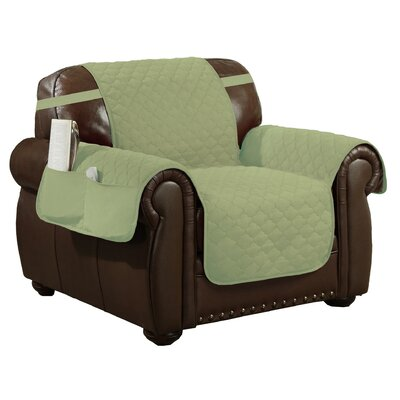 Box Cushion Armchair Slipcover Upholstery: Sage-Chocolate