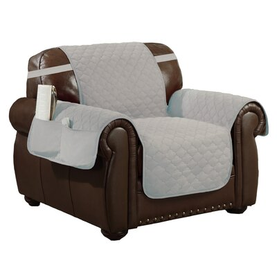 Box Cushion Armchair Slipcover Upholstery: Silver-Black