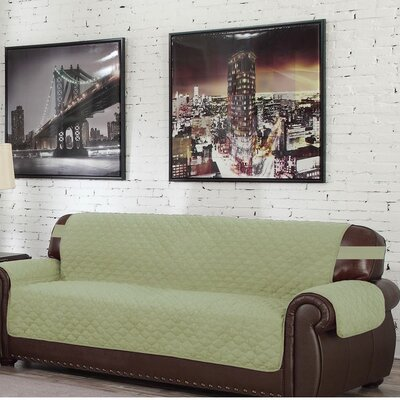 Solid Box Cushion Sofa Slipcover Upholstery: Sage-Chocolate