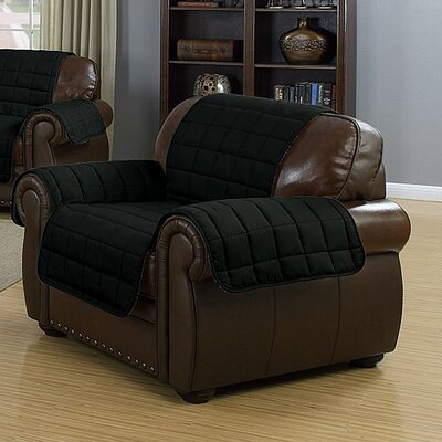 Solid Reversible Waterproof Polyester Armchair Slipcover Upholstery: Black