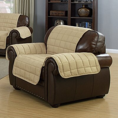 Solid Reversible Waterproof Polyester Armchair Slipcover Upholstery: Taupe