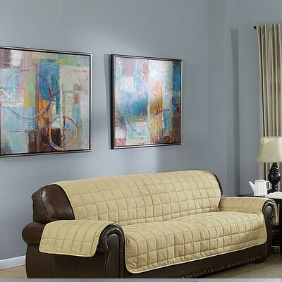 Reversible Waterproof Polyester Sofa Slipcover Upholstery: Taupe