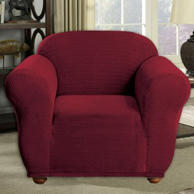 Stretch Diamond Box Cushion Armchair Slipcover Upholstery: Merlot