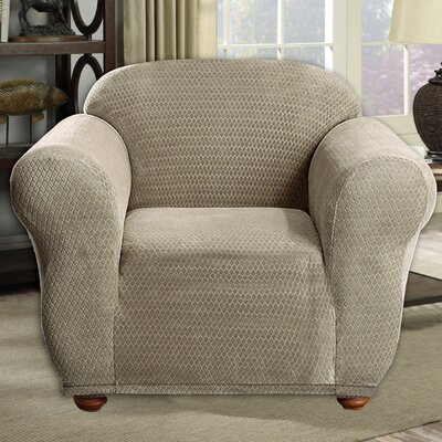 Stretch Diamond Box Cushion Armchair Slipcover Upholstery: Taupe