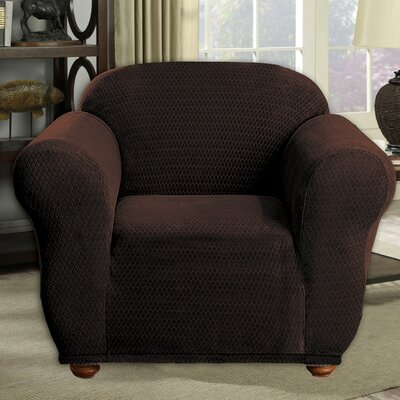 Stretch Diamond Velvet Armchair Slipcover Upholstery: Chocolate