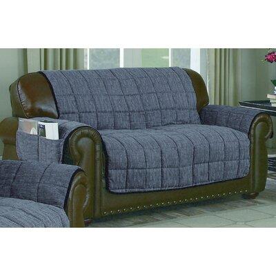 Reversible Chenille Loveseat Slipcover Upholstery: Silver-Black