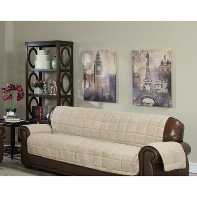 Reversible Chenille Sofa Slipcover Upholstery: Taupe-Chocolate