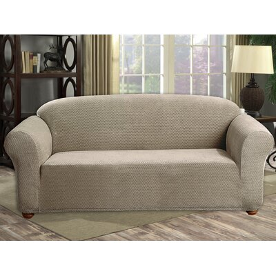 Stretch Diamond Velvet Sofa Slipcover Upholstery: Taupe