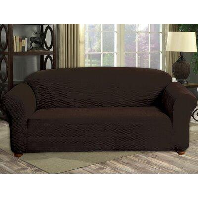Stretch Diamond Velvet Sofa Slipcover Upholstery: Chocolate