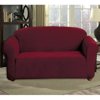 Stretch Diamond Velvet Loveseat Slipcover Upholstery: Merlot