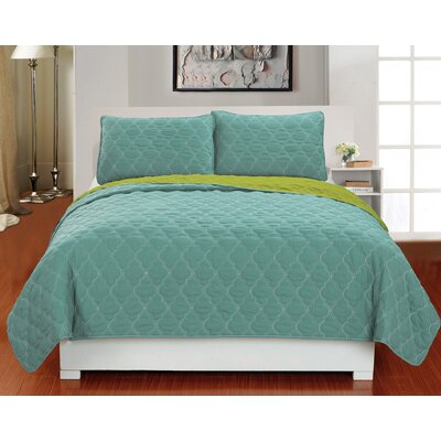 Addison 3 Piece Reversible Coverlet Set Color: Soft Blue