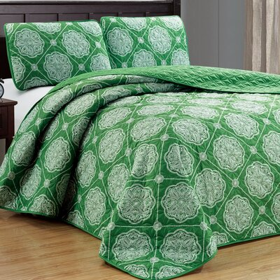 Uplander 3 Piece Reversible Quilt Set Color: Green, Size: Full/Queen