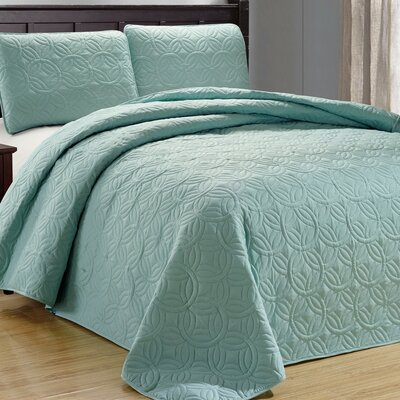 Minta 3 Piece Reversible Quilt Set Color: Spa Green