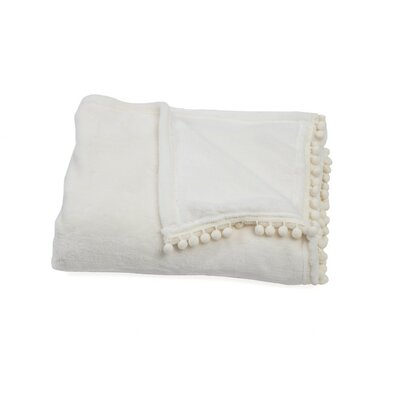Delancy Pompom Trim Throw Color: White