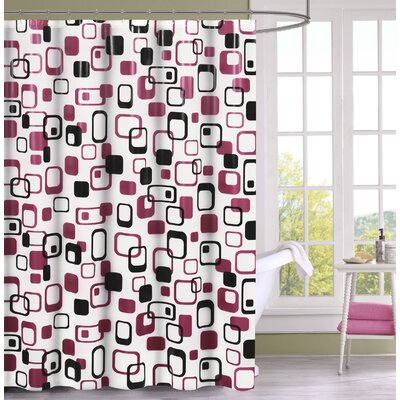 Anette Shower Curtain Set Color: Pink/Black