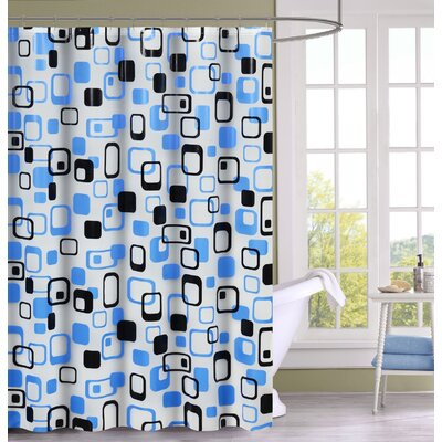 Anette Shower Curtain Set Color: Blue/Black