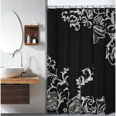 Bloomfield Large Floral Shower Curtain Color: Black