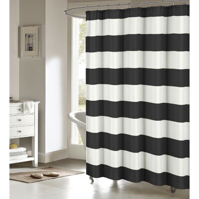 Ivanna Shower Curtain Color: Black/White