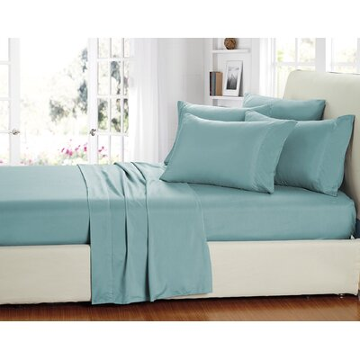 Stevens 6 Piece Sheet Set Color: Aqua, Size: Queen