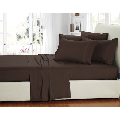 Stevens 6 Piece Sheet Set Color: Chocolate, Size: King