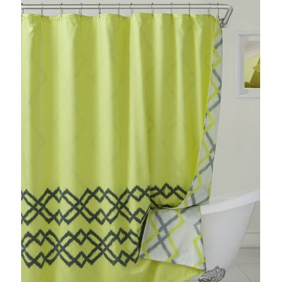 Groh Flocking Reversible Shower Curtain Color: Yellow/Green