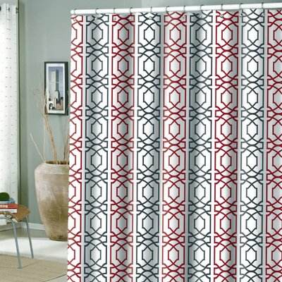 Laurens Microfiber Shower Curtain Color: Red