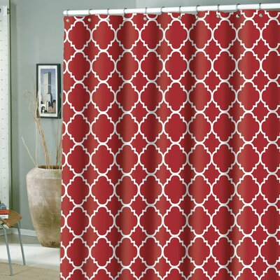 Hoffmann Microfiber Rio Shower Curtain Color: Red