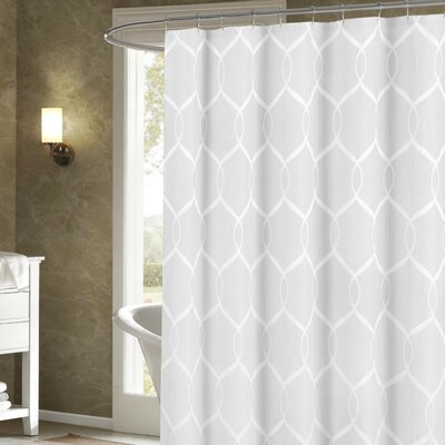 Holcomb Wrinkle Wave Fabric Shower Curtain Color: White