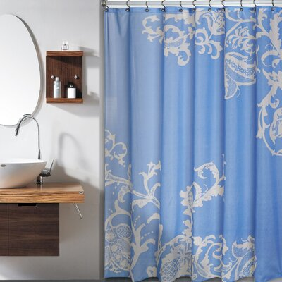 Bloomfield Large Floral Shower Curtain Color: Blue Champagne
