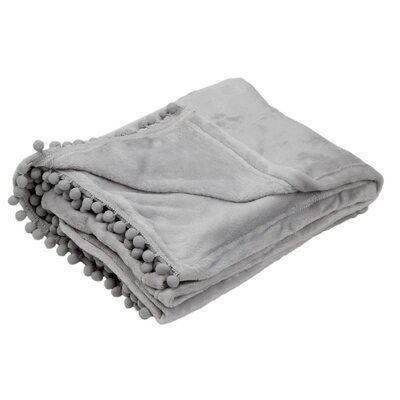 Delancy Pompom Trim Throw Color: Gray