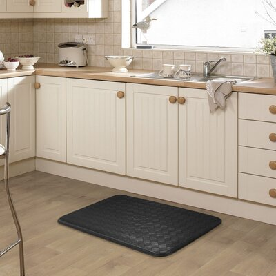Kipp Basket Weave Kitchen Mat Color: Black
