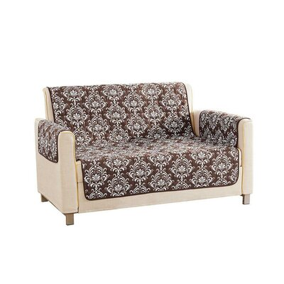 Floral Reversible Waterproof Microfiber T-cushion Armchair Slipcover Upholstery: Brown, Size: 75 H x 92 W x 2 D