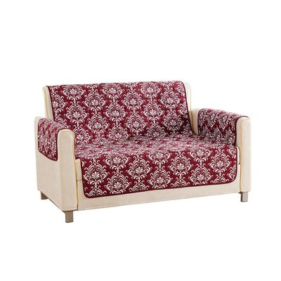 Floral Reversible Waterproof Microfiber T-cushion Armchair Slipcover Upholstery: Wine, Size: 75 H x 92 W x 2 D