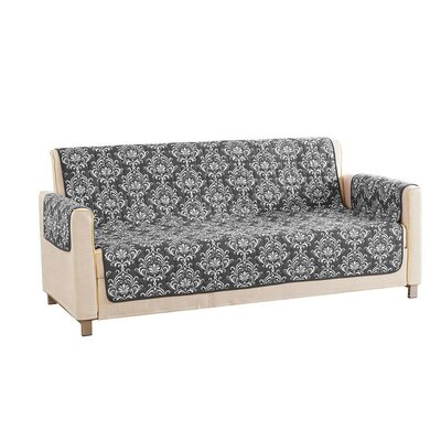 Floral Reversible Waterproof Microfiber T-cushion Armchair Slipcover Upholstery: Gray, Size: 75 H x 114 W x 2 D