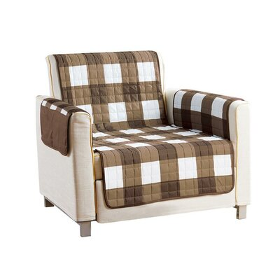 Checkerboard Reversible Waterproof Microfiber T-cushion Armchair Slipcover Upholstery: Brown, Size: 75 H x 69 W x 2 D