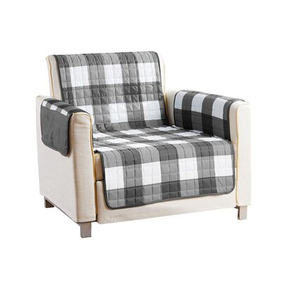 Checkerboard Reversible Waterproof Microfiber T-cushion Armchair Slipcover Upholstery: Gray, Size: 75 H x 69 W x 2 D