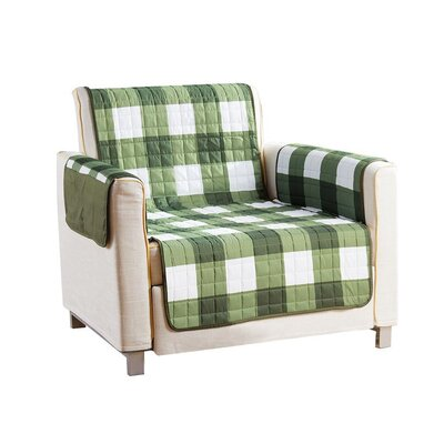 Checkerboard Reversible Waterproof Microfiber T-cushion Armchair Slipcover Upholstery: Sage, Size: 75 H x 69 W x 2 D