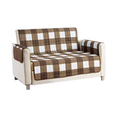Checkerboard Reversible Waterproof Microfiber T-cushion Armchair Slipcover Upholstery: Brown, Size: 75 H x 92 W x 2 D